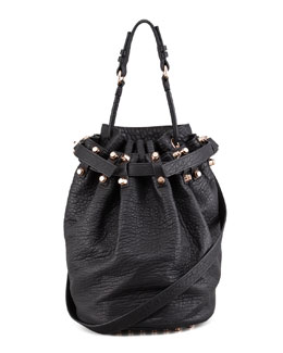 Alexander Wang Diego Bucket Bag, Black/Rose Golden Hardware