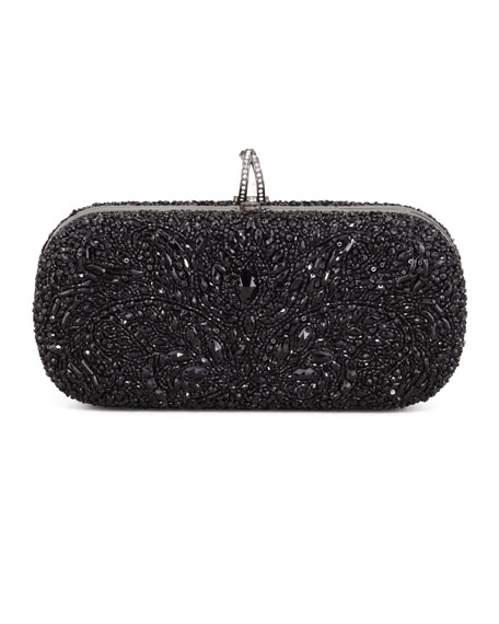 Lily Medium Embroidered Stone Box Clutch, Black