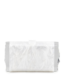 Edie Parker Lara Acrylic Ice Clutch Bag, White