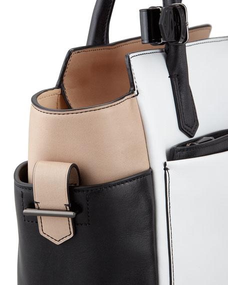 Atlantique Mini Tote Bag, White/Black/Nude