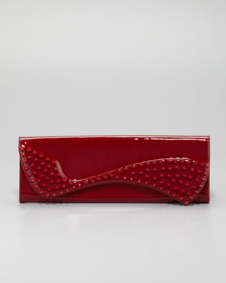 Pigalle Spikes Patent Clutch Bag, Red