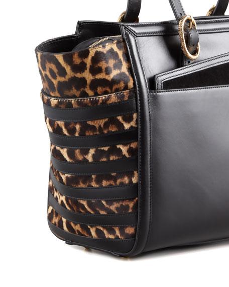 Farida Leopard-Print Calfhair Bowler Bag