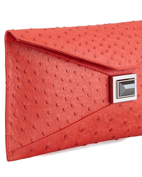 Super Stretch Prunella Ostrich Clutch Bag, Red