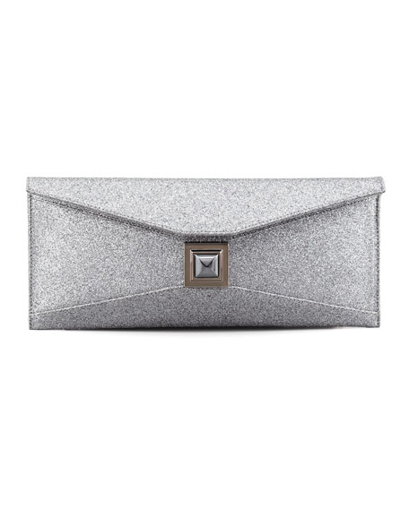 Stretch Prunella Glitter Clutch Bag, Silver