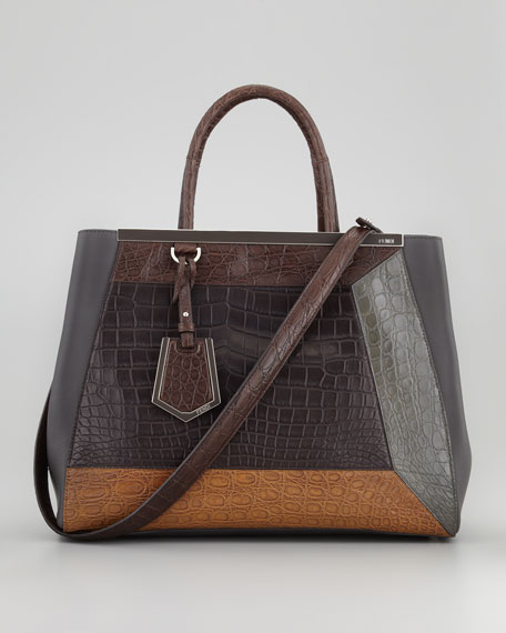 2Jours Medium Colorblock Crocodile Tote Bag