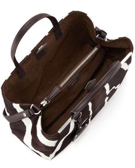 2Jours Medium Zebra-Print Calf Hair Tote Bag