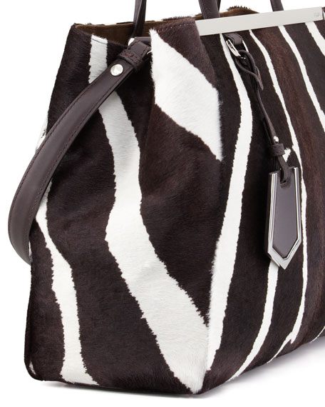 2Jours Medium Zebra-Print Calf Hair Tote Bag