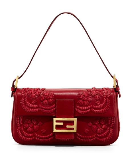 Embroidered Leather Baguette Shoulder Bag, Burgundy