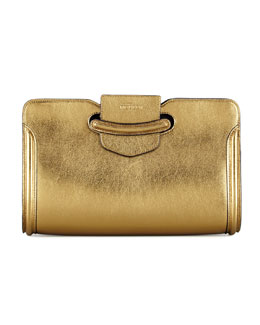 Alexander McQueen Heroine Metallic Clutch Bag, Gold