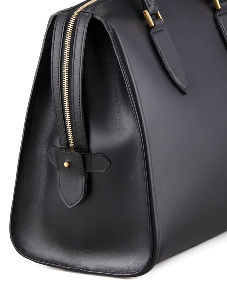Heroine Leather Zip-Up Tote Bag, Black