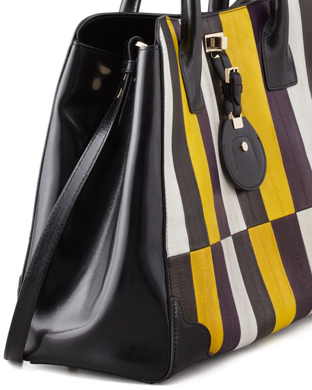 Jourdan Painted Eelskin Tote Bag, Gold/Violet