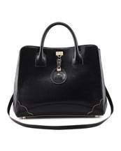 Jason Wu Jourdan Leather Turn-Lock Tote Bag, Black