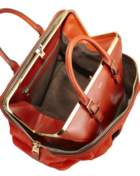 Petra Zip Frame Calf Hair & Brushed Calf Leather Satchel Bag-in-Bag