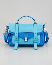 Proenza Schouler PS1 Medium Two-Tone Satchel, Blue/Turquoise