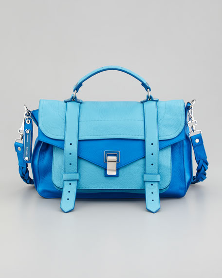 PS1 Medium Two-Tone Satchel, Blue/Turquoise