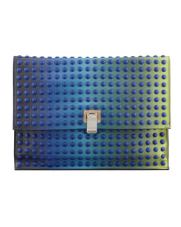 Proenza Schouler Large Studded Ombre Lunch Bag Clutch, Blue/Green