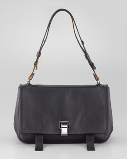 Proenza Schouler PS Courier Leather Satchel Bag, Blue/Black