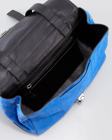 PS Courier Suede Satchel Bag, Blue/Black