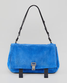 Proenza Schouler PS Courier Suede Satchel Bag, Blue/Black