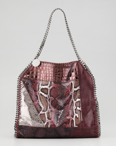 Falabella Small Patchwork Tote Bag, Plum