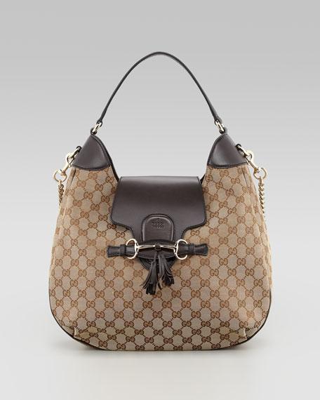 Emily GG Chain-Strap Hobo Bag, Brown