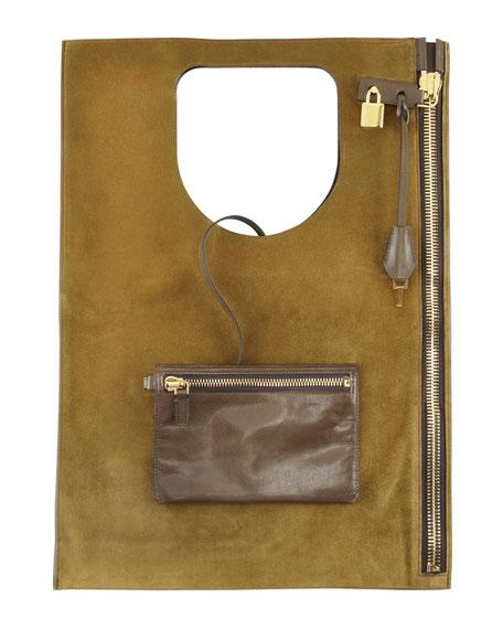 Alix Suede Padlock & Zip Shoulder Bag