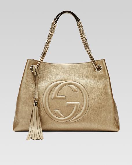 78280d6beefc Gucci Soho Metallic Leather Tote Bag, Golden