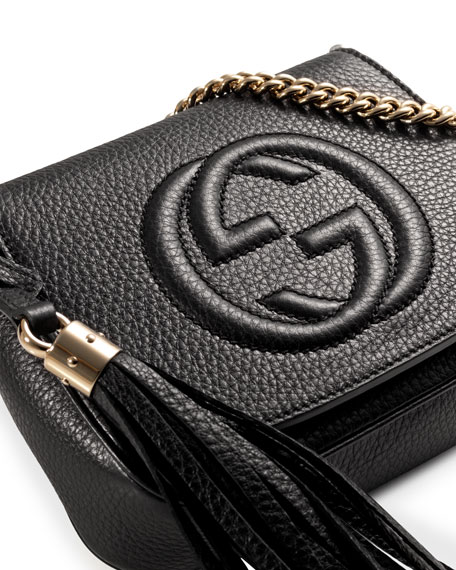 176c20ee49bca8 Gucci Soho Leather Chain Crossbody Bag, Black