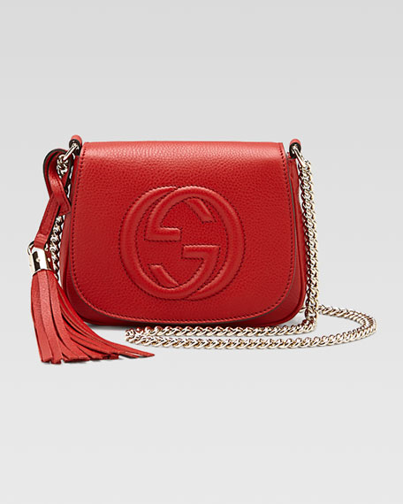 d0897ce17d5776 Gucci Soho Leather Chain Crossbody Bag, Red