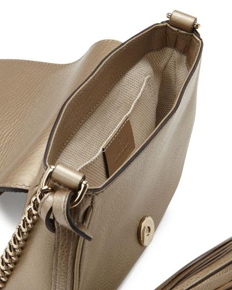 Soho Metallic Leather Chain Crossbody Bag, Champagne
