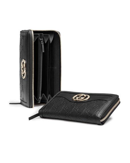 ae9f8dc30779e7 Gucci Sukey Guccissima Leather Zip Around Wallet, Black