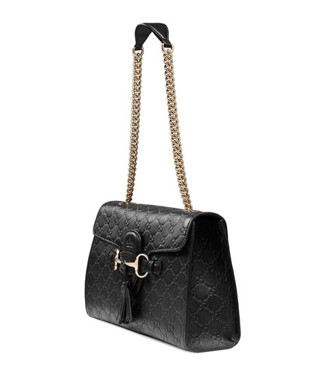 9cff6ffaf755 Gucci Emily Guccissima Leather Chain Shoulder Bag