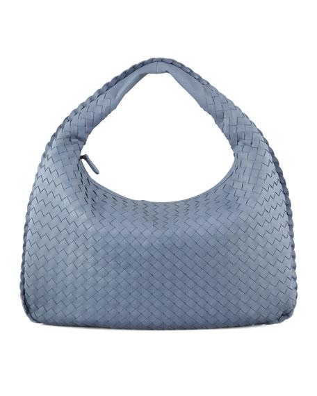 Intrecciato Medium Hobo Bag, Blue