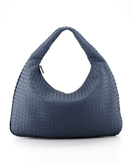Bottega Veneta Intrecciato Large Hobo Bag, Blue