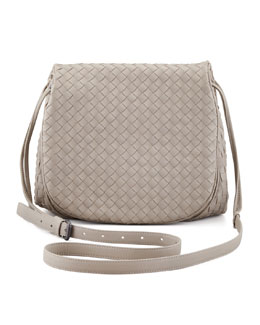 Bottega Veneta Woven Leather Crossbody Messenger Bag, Gray