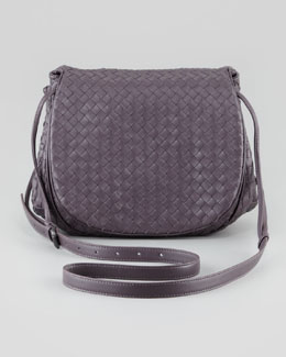 Bottega Veneta Woven Leather Small Crossbody Messenger Bag, Purple