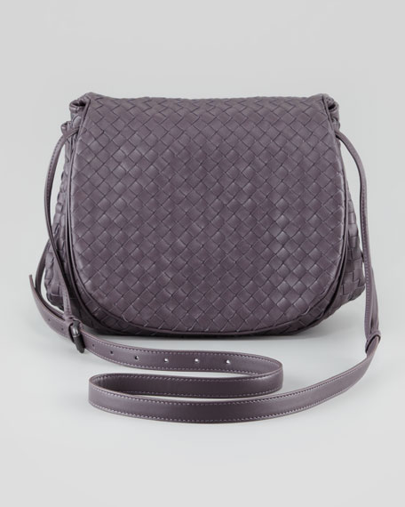 Woven Leather Small Crossbody Messenger Bag, Purple