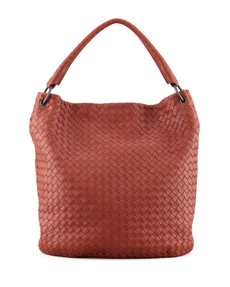 Veneta Woven Bucket Bag, Dark Red