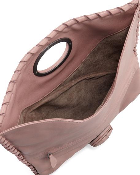 Full-Flap Turnlock Clutch Bag, Mauve