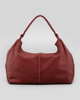 Bottega Veneta Cervo Large Shoulder Bag, Dark Red