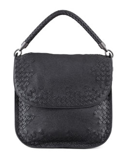 Bottega Veneta Cervo Medium Flap Shoulder Bag, Black