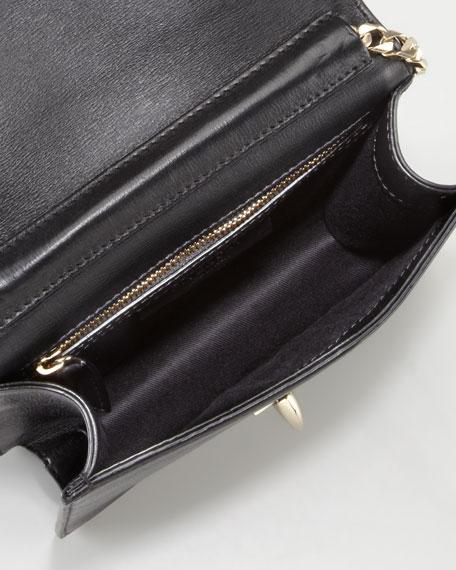 Shark Flap-Top Crossbody Bag, Black