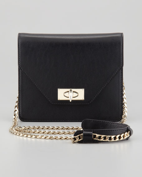 Shark Flap-Top Crossbody Bag, Black