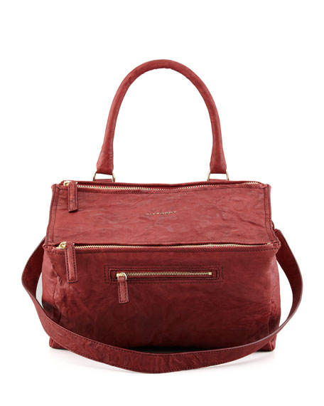 Pandora Medium Old Pepe Satchel Bag, Burgundy