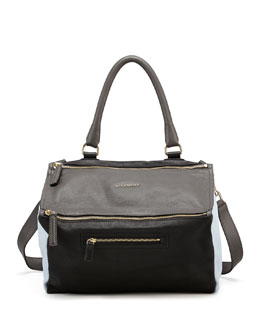 Givenchy Pandora Medium Colorblock Satchel Bag, Gray