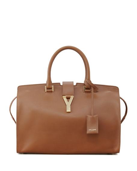 a0566e9d9e Saint Laurent Classic Cabas Y-Ligne Leather Carryall Bag, Brown