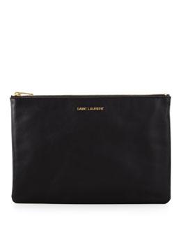 Saint Laurent Letters Medium Zip Clutch Bag, Black
