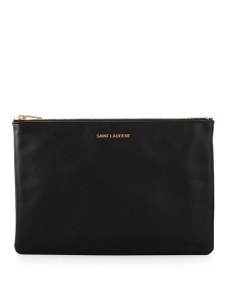 Letters Medium Zip Clutch Bag, Black