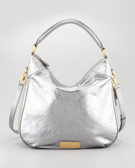 3c37866fad MARC by Marc Jacobs Washed Up Billy Hobo Bag, Gray Metallic