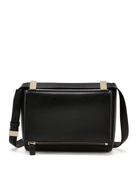 Pandora Box Medium Lather Shoulder Bag, Black